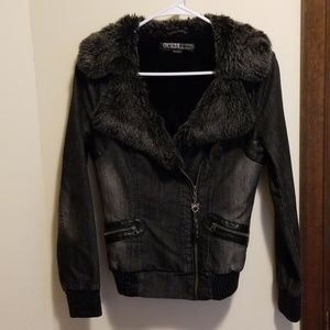 Guess dark denim bomber style jacket